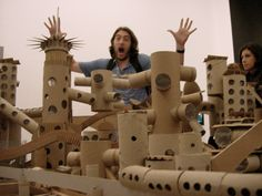At least, that what I was going for. Instead, I just look really stupid. OH WELL From the production design exhibit for Michel Gondry& The Science of Sleep at the Deitch Gallery. Cardboard City, Michel Gondry, Art Plastique, Playground, Lion Sculpture, Paper Crafts, Homemade, Statue, Gallery