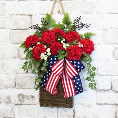 Your place to buy and sell all things handmade Fourth Of July Decor, 4th Of July Decorations, 4th Of July Wreaths, Memorial Day Decorations, Summer Door Wreaths, July 4th, Memorial Day Wreaths, Baskets On Wall, Hanging Baskets