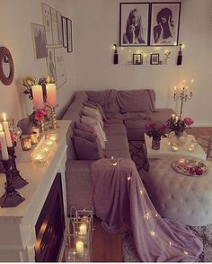 Candlelit living room