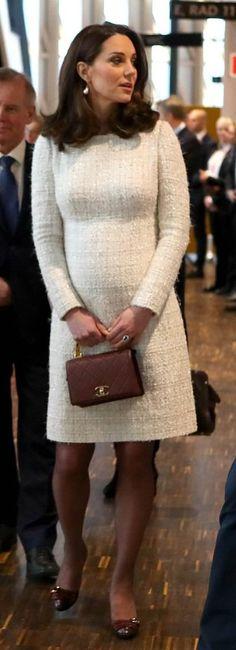 Catherine, the Duchess of Cambridge in Alexander McQueen visits the Matteusskolan School in Stockholm. #bestdressed