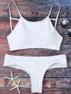 $20.49 Mock Neck Spaghetti Strap Bikini Set - WHITE S