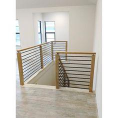 Indoor Stair Railing, Staircase Railing Design, Interior Stair Railing, Modern Stair Railing, Wrought Iron Stair Railing, Replace Stair Railing, Stair Case Railing Ideas, Modern Stairs Design, Stairway Railing Ideas