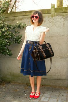 denim skirt and adorable red shoes