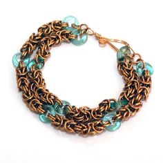 Bronze chainmaille bracelet with glass ring by DeannaKJohnson, $55.00