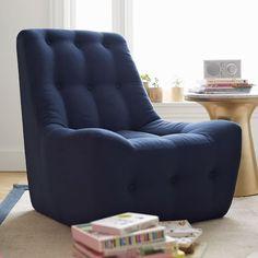 Navy Linen Modern Slipper Chair