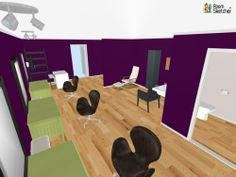 Beauty salon with stylist stations, shampoo bowl and bathroom. Decor from Pier 1 Imports, IKEA & Crate and Barrel. Designed in RoomSketcher by hmose11.  http://planner.roomsketcher.com/?ctxt=rs_com #purple #flooring #walls #floorplan #beauty