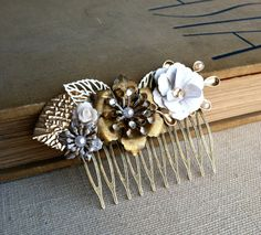 Bridal Steampunk  Antique Brass Flower Hair by PrettyBabyMillinery, $79.00