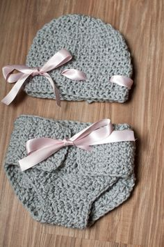 Gray hat and diaper cover set w/ pink bow  by clicksandcrochets, $30.00