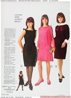 1966 Sears Fall Winter Catalog, Page 232 - Christmas Catalogs & Holiday Wishbooks Sixties Fashion, Retro Fashion, Vintage Fashion, Pencil Skirt Black, Pencil Skirts, Burlesque Costumes, Christmas Catalogs, Vintage Wardrobe, Retro Look