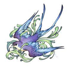 Purple and blue swallow tattoo design Love Tattoos, Beautiful Tattoos, Feather Tattoos, Golondrinas Tattoo, Fenix Tattoos, Swallow Tattoo Design, Graphic Design Tattoos, Sparrow Tattoo, Motifs Animal