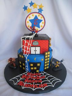 super hero, spiderman cake, boy birthday, cake artistri, parti idea, cakes spiderman, superhero