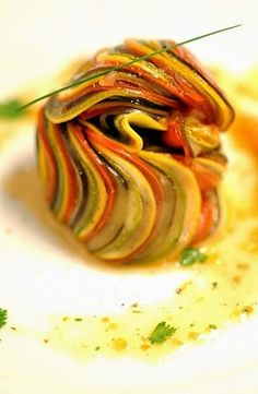 ratatouille Thomas Keller...thinking this would be nicely done as a puff pastry tart
