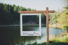 Wooden Polaroid board for fun guest photos