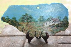 Hand Painted slate featuring a country scene with a old white house and a apple tree Painted Slate, Painted Rocks, Hand Painted, Painted Canvas, Slate Art, Slate Rock, Painting On Wood, Painting & Drawing, Rock Painting