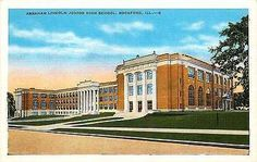 Vintage postcard of Abraham Lincoln Junior High School in Rockford, Illinois. Card was originally mailed on June Abraham Lincoln, School Days, High School, Rockford Illinois, Blue Bayou, Winding Road, Junior, Historical Pictures, The Good Old Days