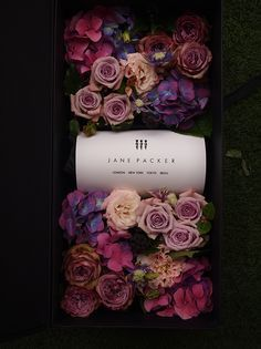 my 4th JANE PACKER flower project, gift box :) no one would refuse pink & purple flowers!