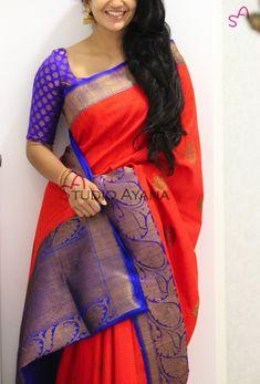 Jhansi Rani Simple Sarees, Trendy Sarees, Indian Attire, Indian Ethnic Wear, Indian Dresses, Indian Outfits, South Indian Sarees, Elegant Saree, Pure Silk Sarees