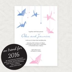 Pantone 2016 Colour Of The Year Wedding Invitation Inspiration   Rose  Quartz And Serenity Paper Crane