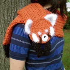 red panda longbottom scarf (clothing, accessories, scarf, knitted, yarn, animal, panda, orange)