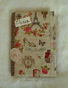 Labores de Tania: Agendas de Paris. Altered notebook.  Notebook. Cuaderno decorado. Libro alterado. Book.