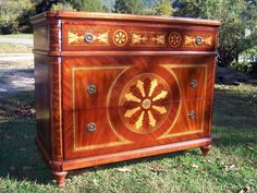 French Italian Regency 3 Drawer Mahogany Chest Intricate Inlay Inlaid Details #Unbranded #HollywoodRegency