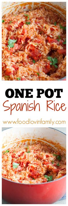 One Pot Spanish Rice| One Pot| Spanish Rice| Mexican Rice| Red Rice| Easy Rice | http://www.foodlovinfamily.com/spanish-rice-2/