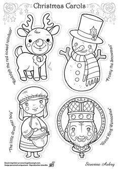 Dessin à colorier d'un des héros de Noël, Christmas Carols - Hugolescargot.com