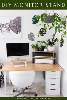 Monitor Stand Ikea, Ikea Home, Home Desk, Desk Setup, Ikea Furniture, Home Office Decor, Bedroom Decor, Simple Diy, Study Nook