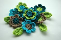 Turquoise and Lime Crochet Applique