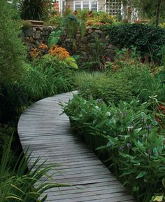 """What do you do with a constantly wet area in your garden? Work with it. Turn it into a """"bog garden"""" and put a raised walkway through it. I think it's gorgeous. What about you?"""
