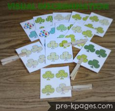 Clover Visual Discrimination Cards for Preschool via www.pre-kpages.com