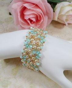 Woven Bracelet with Pearls in Mint by IndulgedGirl on Etsy