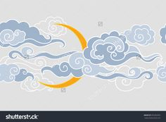 Find Moon Clouds Vector Illustration Seamless Border stock images in HD and millions of other royalty-free stock photos, illustrations and vectors in the Shutterstock collection. Cloud Drawing, Cloud Art, Cloud Illustration, Cloud Vector, Tibetan Art, Clouds Pattern, Cute Patterns Wallpaper, Mandala Drawing, Chinese Art