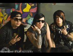 Max Green, Craig Mabbitt, and TJ Bell of Escape the Fate too much sexiness in 1 picture