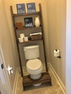 Over The Toilet Storage Leaning Bathroom Ladder Diy Projects