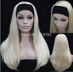 반 가발 3/4 가발 머리띠 긴 직선 금발 합성 머리 가발 9 색상 선택 무료 배송