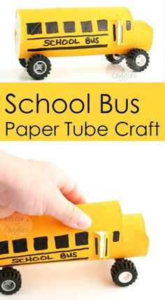 A school bus craft made out of a paper tube! It has real wheels for imaginative play.
