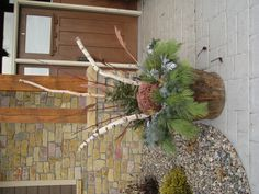 Winter planter 2012. We made 2 for our front entry. We used long needled pine, blue spruce, SD spruce, arbor vitae, and cedar. Also birch branches, sedum, sumac berries, grasses, and some neat lime green berries and other weeds we found in the ditch. Easy and cheap