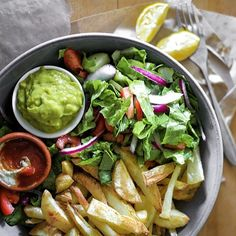 Chunky chips and salad for dinner! With low sodium tomato sauce/probiotic Caesar sauce and whipped avocado