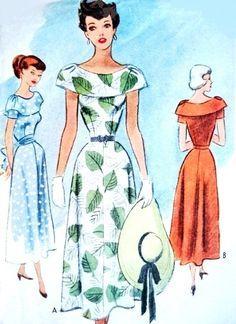 1940 Mooie Kleding Patroon McCall 7650 Flattering brede halsband Dress Day of speciale gelegenheid Bust 30 Uitstekende Naaiende Patroon