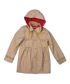 Khaki Ruffle Hooded Trench Coat - Girls #zulily #zulilyfinds