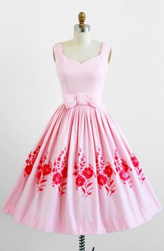 vintage 1950s pink cotton pique party dress with floral embroidery…