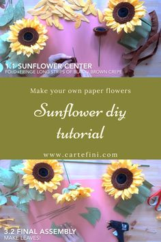 Make paper sunflowers! So easy and so pretty! Pick from 140 colors in our online store. Crepe Paper Flowers Tutorial, Rolled Paper Flowers, Zipper Flowers, Ribbon Flower Tutorial, How To Make Paper Flowers, Large Paper Flowers, Felt Flowers, Diy Flowers, Fabric Flowers