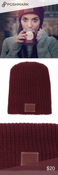 Love Your Melon Beanie BRAND NEW. BURGUNDY. This beanie is knit from 100% cotton yarn and features a brown leather patch debossed with the Love Your Melon logo. One size fits all. Made in the USA. Machine washable. Love Your Melon Accessories Hats