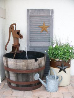 Old pump - water feature - Front porch idea Garden Fountains, Garden Ponds, Water Well Hand Pump, Shed Decor, Goldfish Pond, Outdoor Water Features, Outdoor Stuff, Outdoor Decor, Outdoor Living