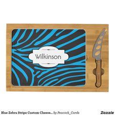 Blue Zebra Stripe Custom Cheese Board