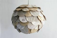 Artichoke-Shaped Pendant Lamps Made From Recycled Novels, Maps and Magazines by Allison Patrick