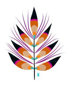Plumage Leaf Illustration Warm Palette Fine Art by BrittDeMarisArt