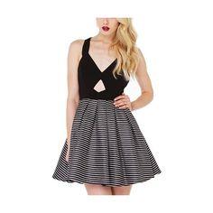 Black Vintage Striped Pleated Polyester Skater Dress-DR0310005 ($23) ❤ liked on Polyvore