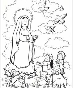 The cutest Our Lady of Fatima coloring page.